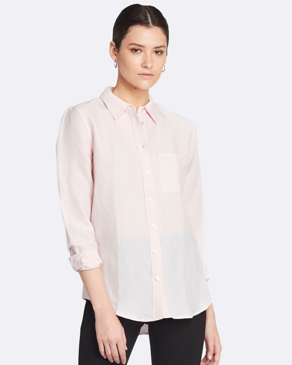 GINIA RTW Poppy Silk Linen Shirt Tops Pink Poppy Silk Linen Shirt