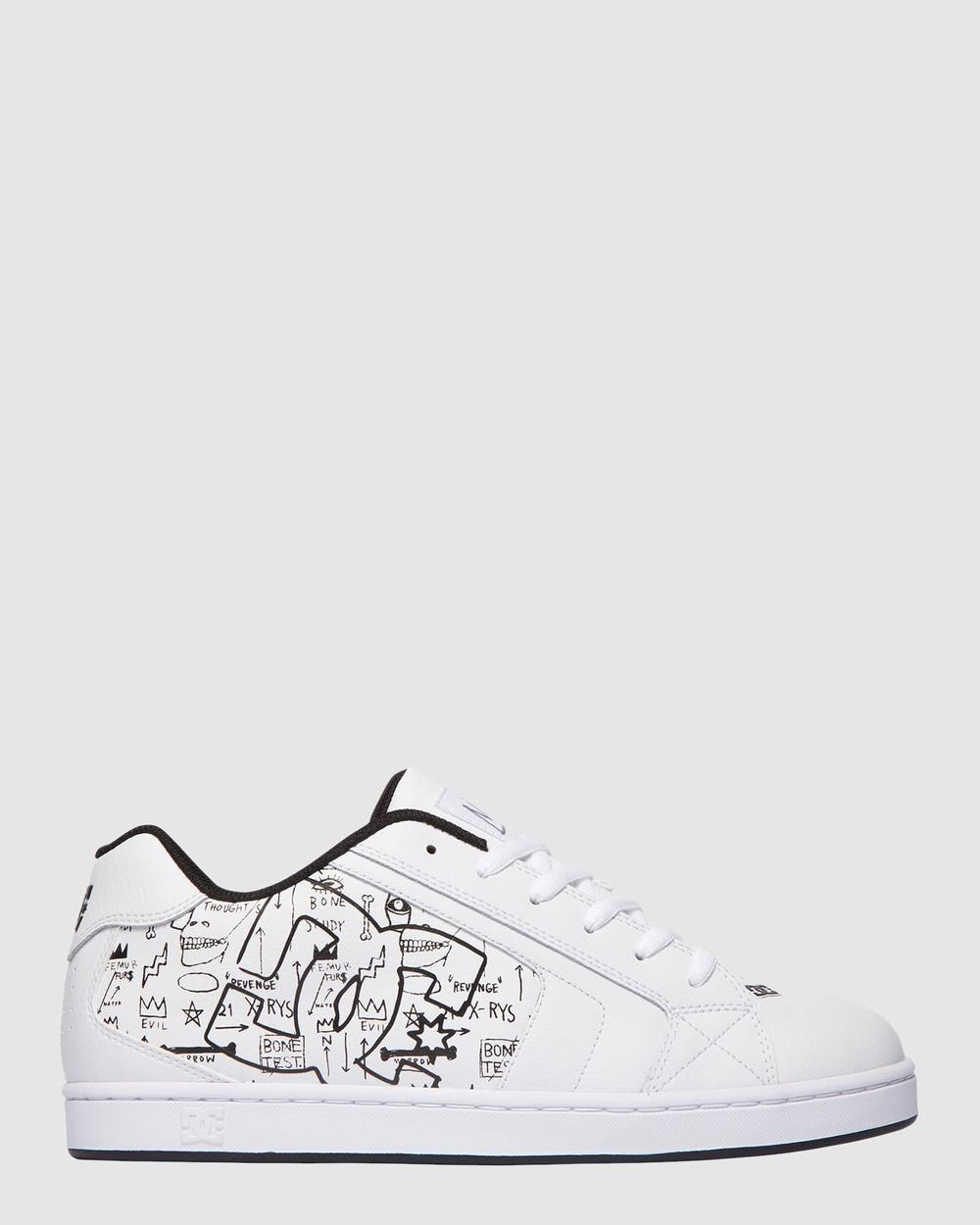 DC Shoes Mens BASQ Net Shoe Sneakers White/Black Print