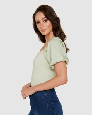 Forever New Blake Square Neck Poplin Sleeve Tee - T-Shirts & Singlets (Dried Herbs)