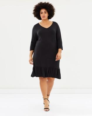 JUNAROSE – Cimona Three Quarter Sleeve Dress Black Beauty
