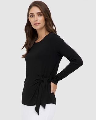 Bamboo Body - Tie Front Top Tops (Black)