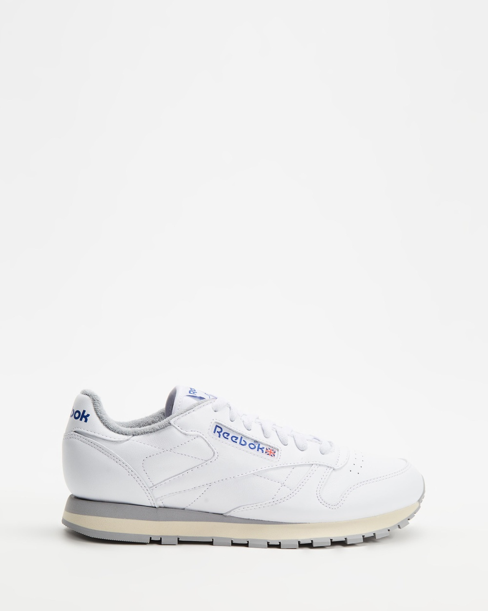 Reebok Classic Leather R12 Unisex Lifestyle Sneakers White, Tin Grey, Sandtrap, Royal & Red