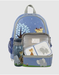 Bobbleart - Large Backpack Dome Lunch Bag Bento Box and Drink Bottle Safari