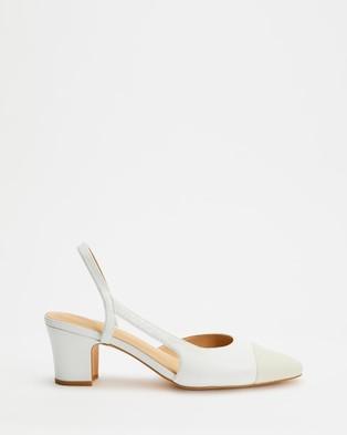 Atmos&Here Pamela Leather Heels - Mid-low heels (White & Cream Lizard Embossed Leather)