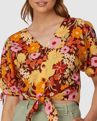 Princess Highway Gina Flora Tie Top - Tops (Brown)