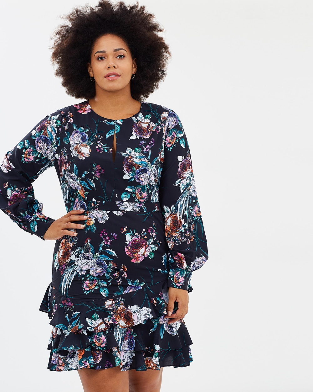 Cooper St CS CURVY Botanical Long Sleeve Dress Printed Dresses Print Dark CS CURVY Botanical Long Sleeve Dress