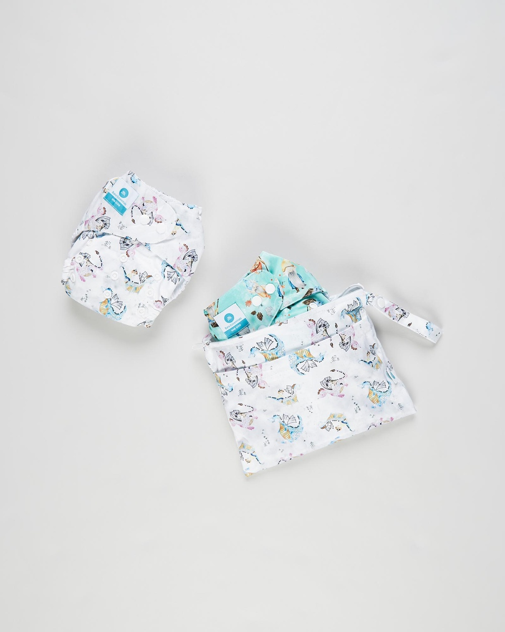 itti bitti Bare Essentials One Size Fits Most Reusable Cloth Nappy & Wetbag 2 Pack Changing Lucky Pendragon 2-Pack