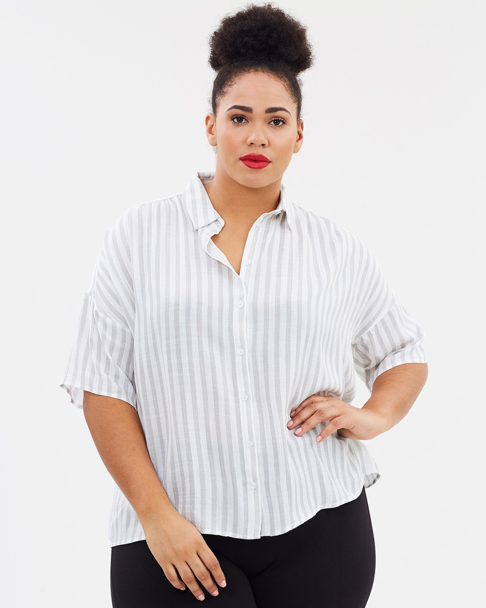 Atmos & Here Curvy ICONIC EXCLUSIVE Lucy Button Shirt Tops Neutral Stripe ICONIC EXCLUSIVE Lucy Button Shirt