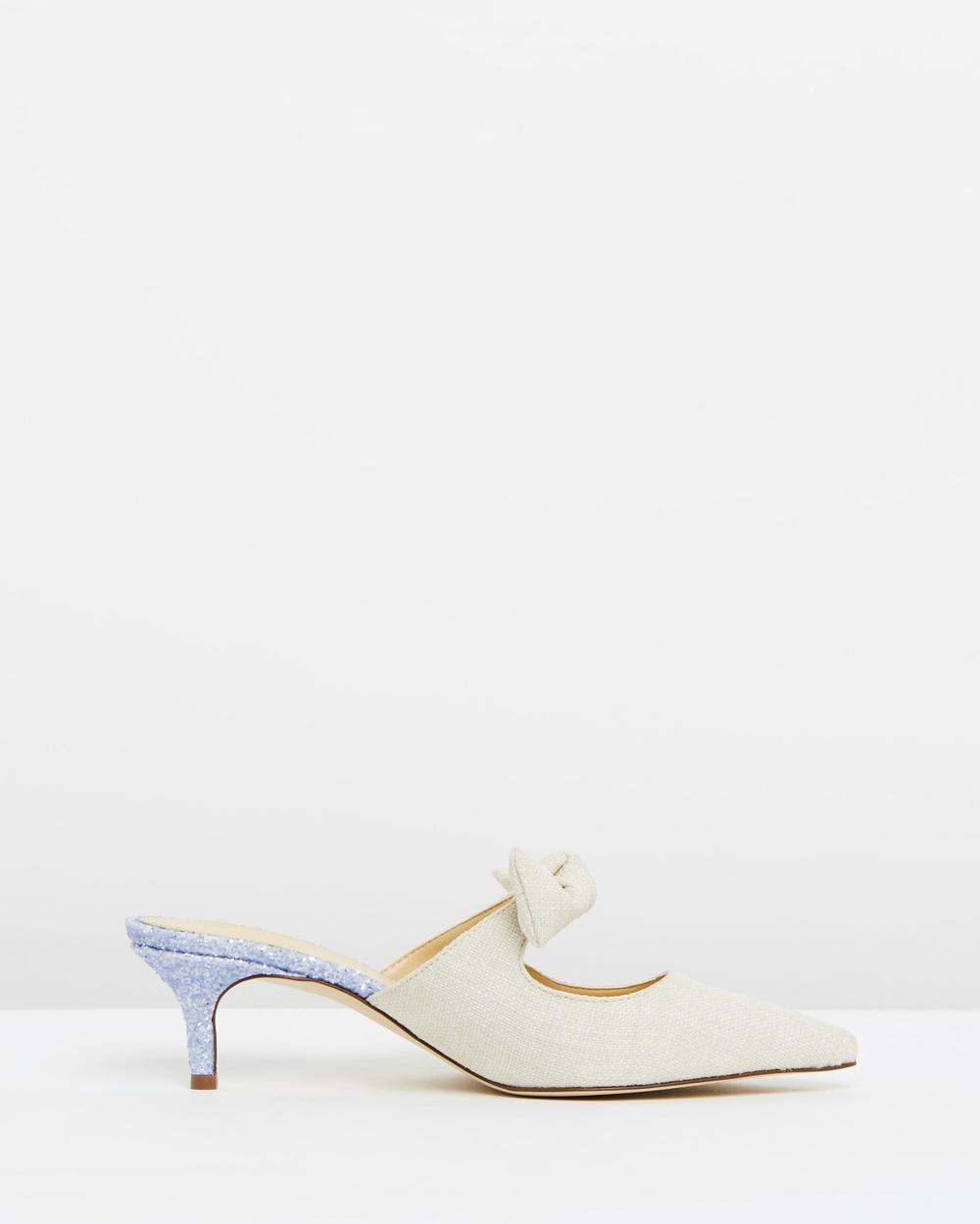 J.Crew Tie Slide Eloise Pumps Mid-low heels Linen & Glitter Tie Slide Eloise Pumps