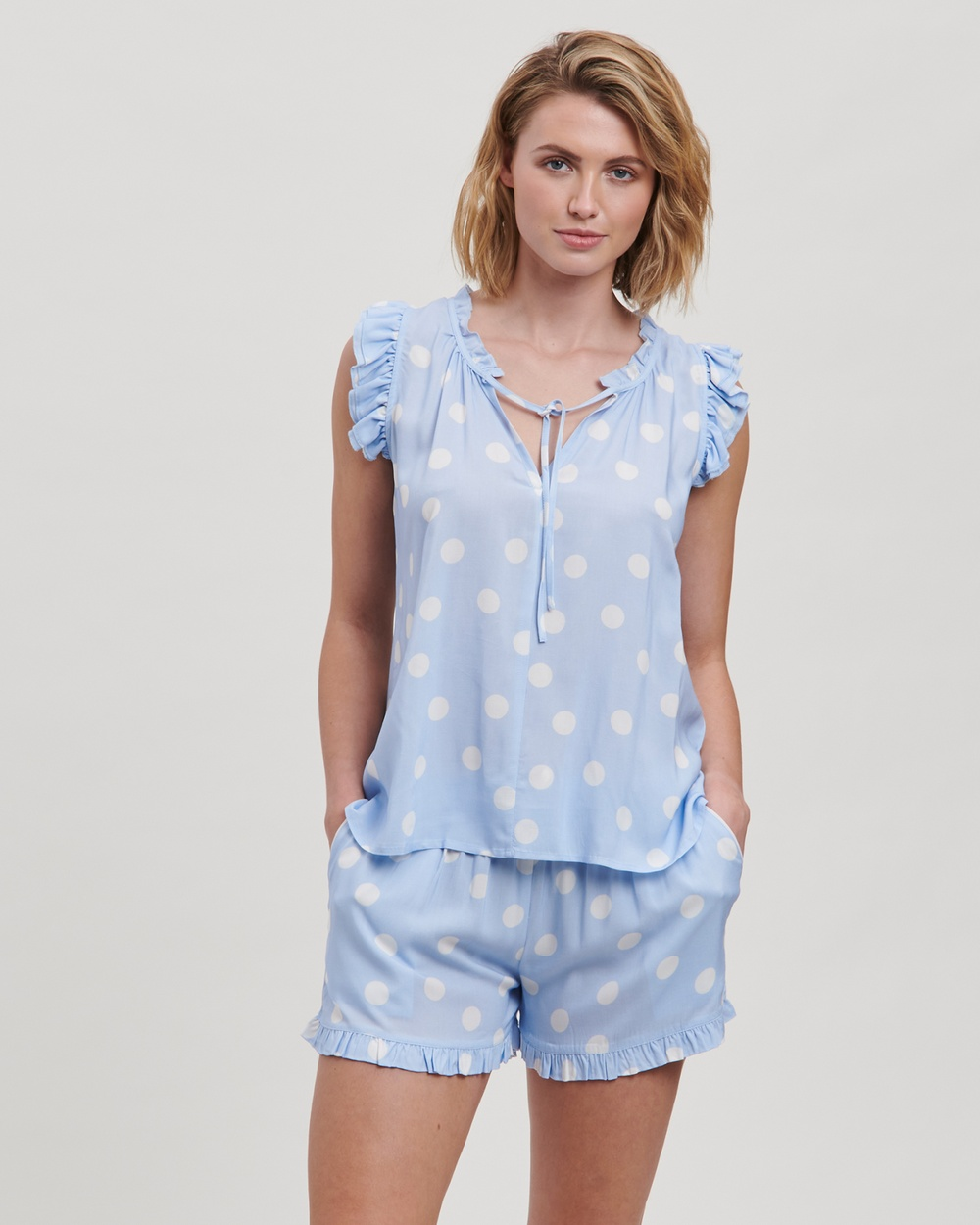 Bluebell Spot Frill Pyjama Shorts Set - Two-piece sets