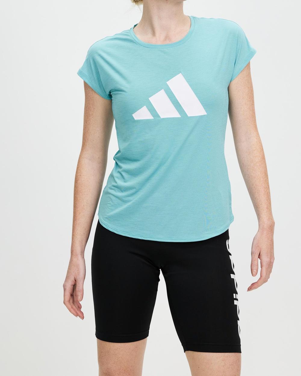 adidas Performance 3 Stripes Training Tee Short Sleeve T-Shirts Mint Ton & White 3-Stripes