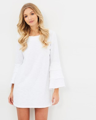 Atmos & Here – Bella Frill Knit Shift Dress White