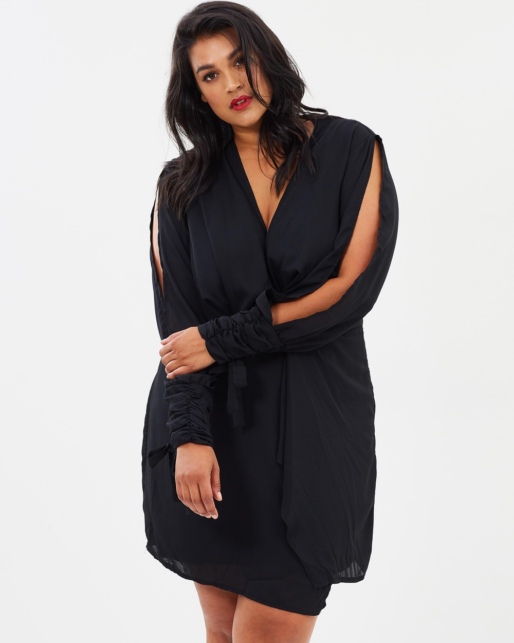 Missguided Curve Twist Front Tie Cuff Dress Dresses Black Twist Front Tie Cuff Dress