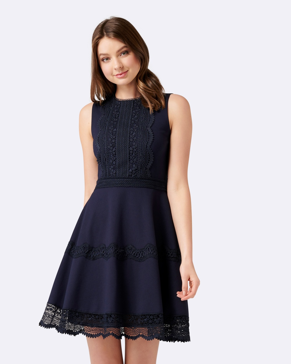 Forever New Tara Ponte Spliced Lace Dress Dresses Navy Tara Ponte Spliced Lace Dress
