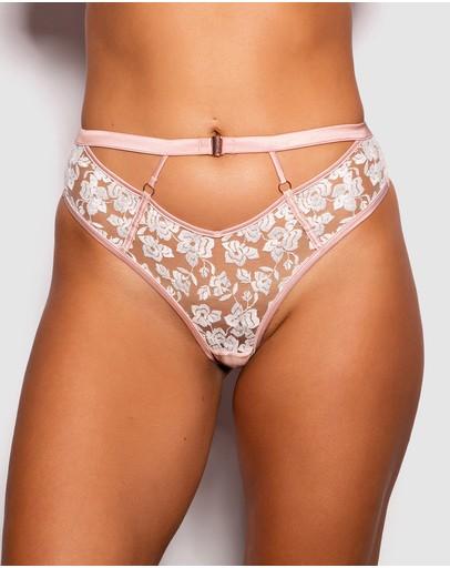 Bras N Things Enchanted Chloe High Waist V String Knickers Light Pink/white