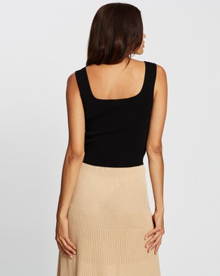 AERE Luxe Basics Square Neck Top - Tops (Black)