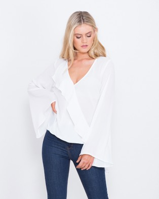 Tussah – Aria Frill Detail Top – Cropped topsIvory
