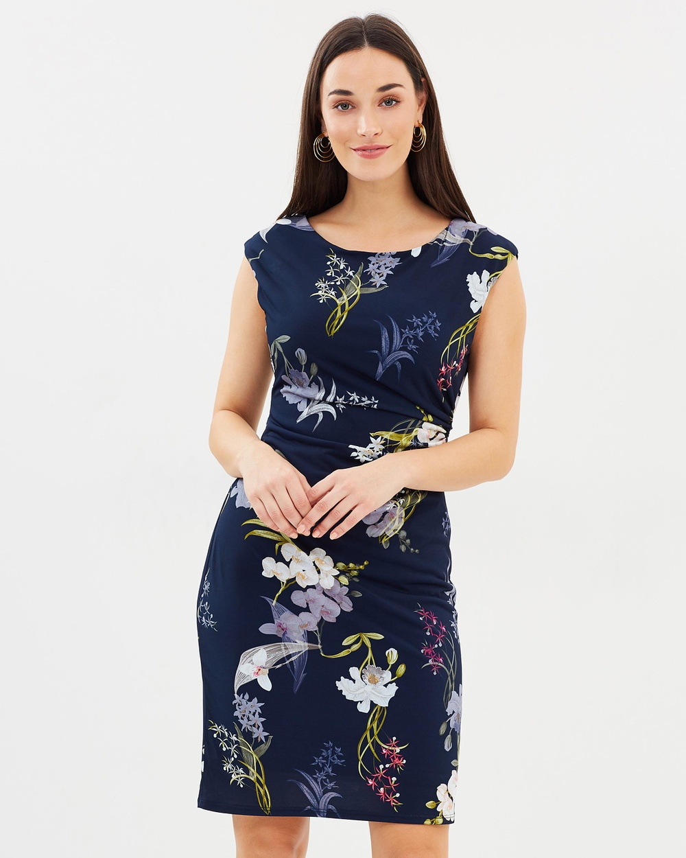 Wallis Oriental Blossom Ruched Shift Dress Printed Dresses Navy Blue Oriental Blossom Ruched Shift Dress