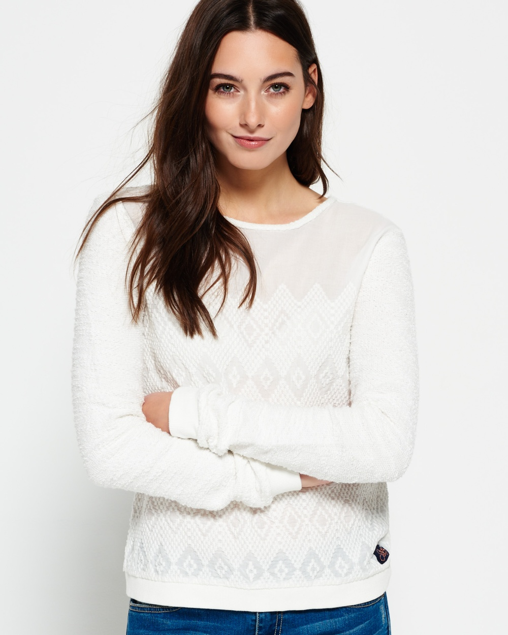 Superdry Embroidered Boho Crew Neck Jumper Tops OFF WHITE Embroidered Boho Crew Neck Jumper