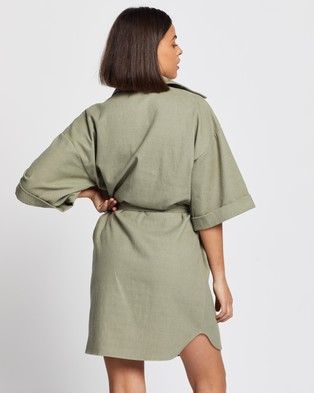 AERE Cotton Wide Sleeve Shirt Dress - Clothing (Green)