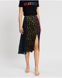 Alice & Olivia - Jenessa Combo High Slit Skirt