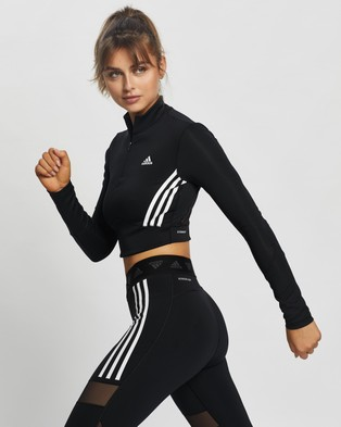 adidas Performance Long Sleeve Crop Top - Long Sleeve T-Shirts (Black & White)