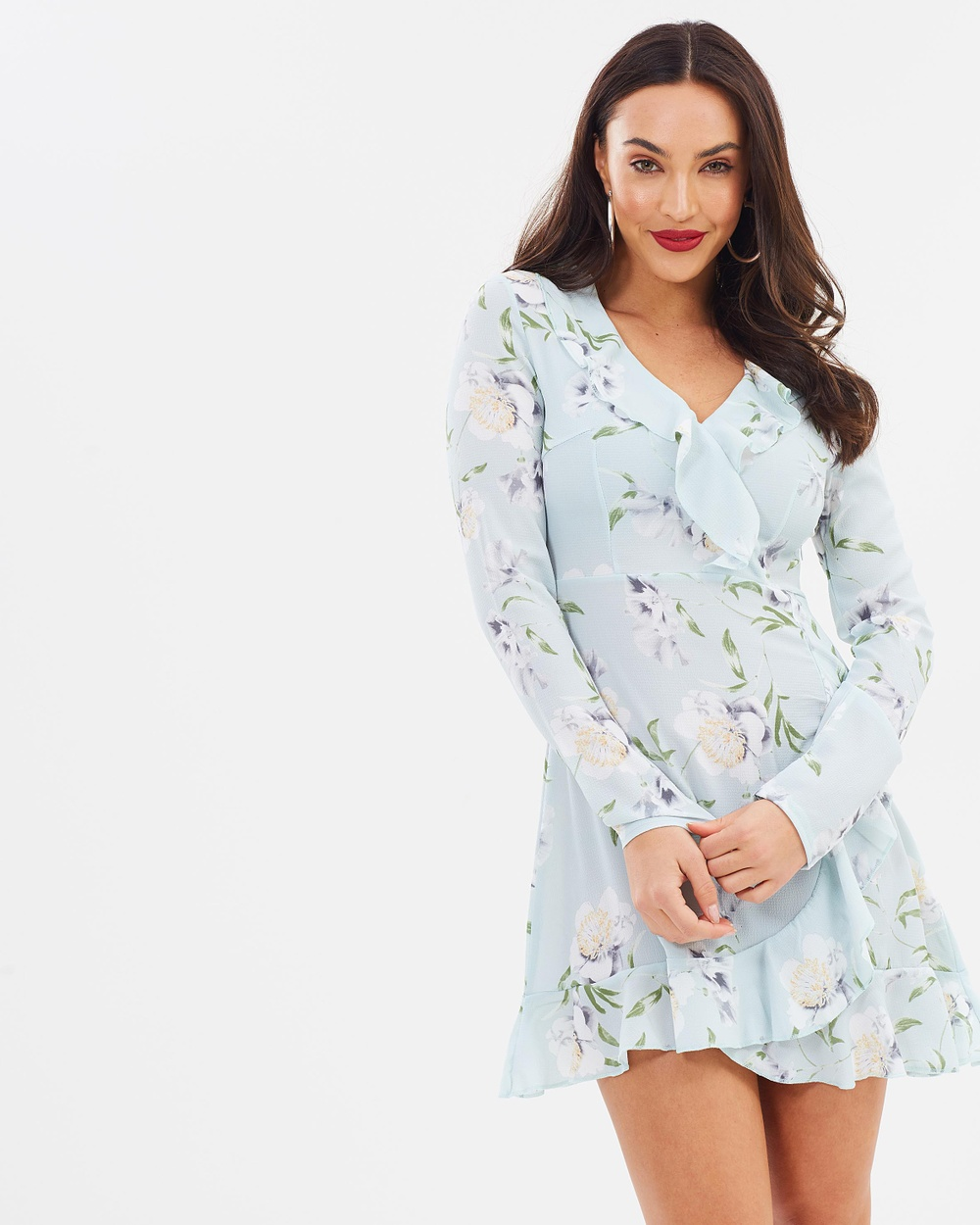 Missguided Long Sleeve Floral Ruffle Tea Dress Printed Dresses Grey Long Sleeve Floral Ruffle Tea Dress