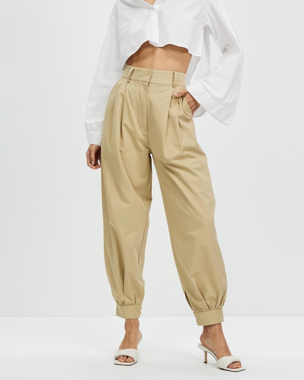 AERE Organic Cotton Cuffed Pants Neutral