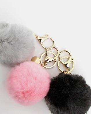 Belle & Bloom Faux Fur Pom Pom Key Ring 3 Pack - Key Rings (Multicolour)