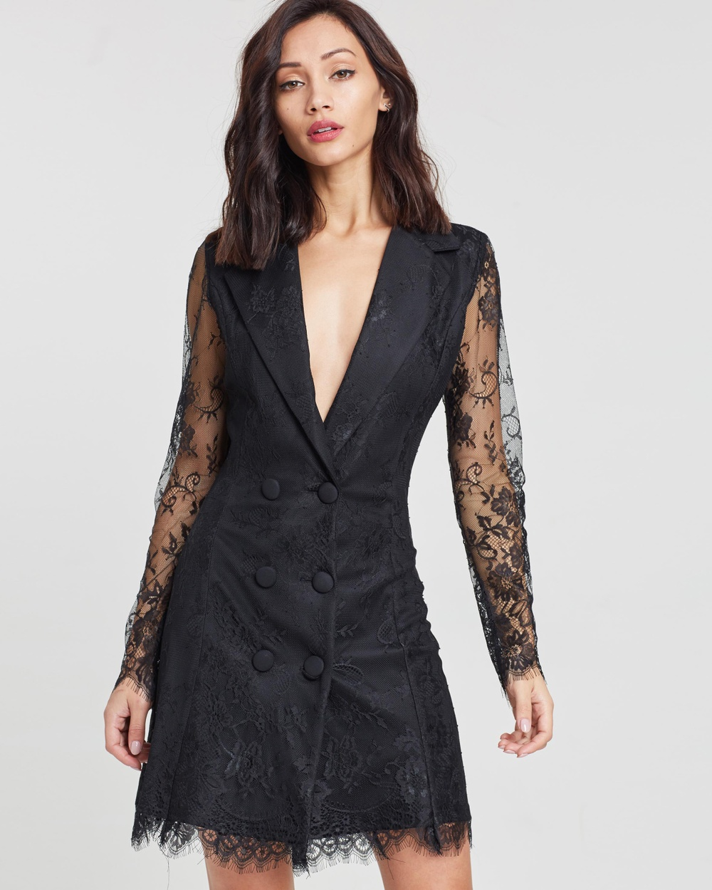 Missguided Lace Blazer Dress Dresses Black Lace Blazer Dress