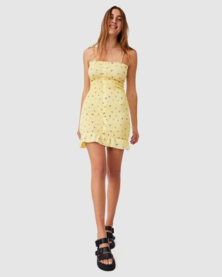 Cotton On Sammy Shirred Mini Dress - Bodycon Dresses (Valrie Rose Ditsy Lemon)