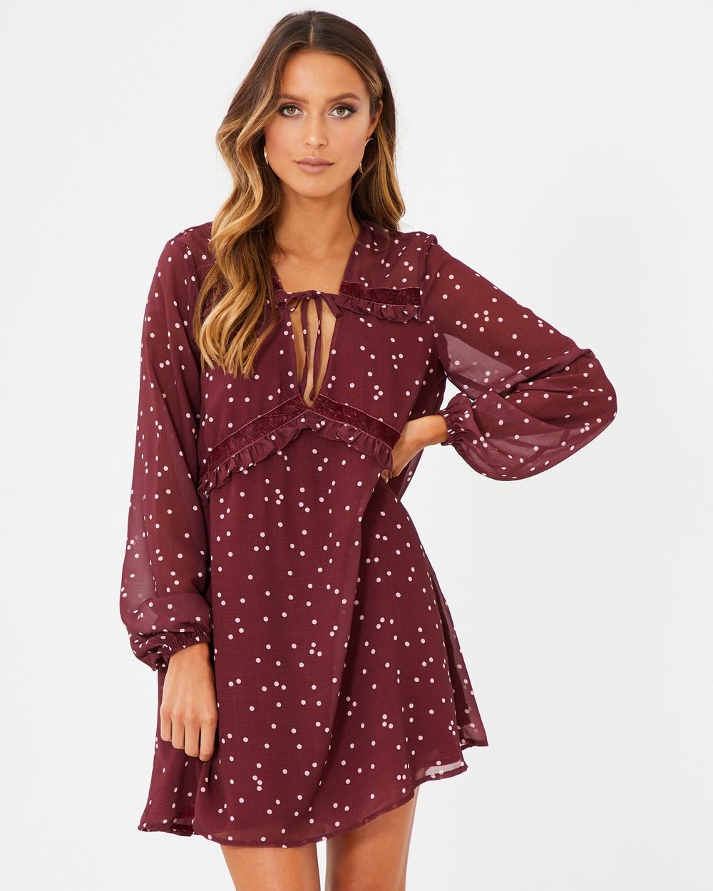 Calli Otavia Shift Dress Printed Dresses Burgundy Polka Dot Otavia Shift Dress