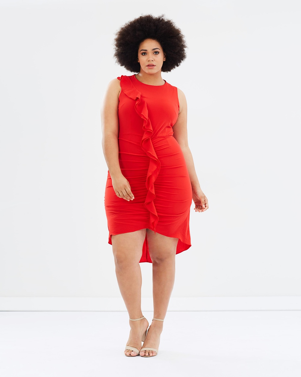 Atmos & Here Curvy ICONIC EXCLUSIVE Clarince Ruffle Wrap Dress Dresses Red ICONIC EXCLUSIVE Clarince Ruffle Wrap Dress