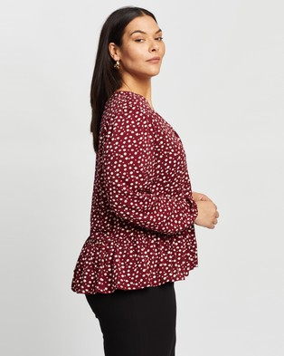 Atmos&Here Curvy Cherry Button Front Blouse Tops (Burgundy Mono Print)