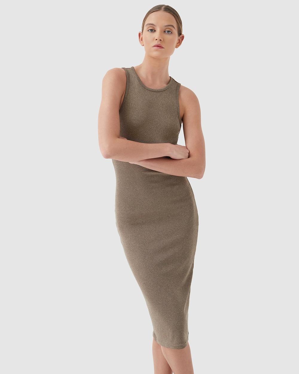 4th & Reckless Lucie Dress Bodycon Dresses Khaki Rib Jersey