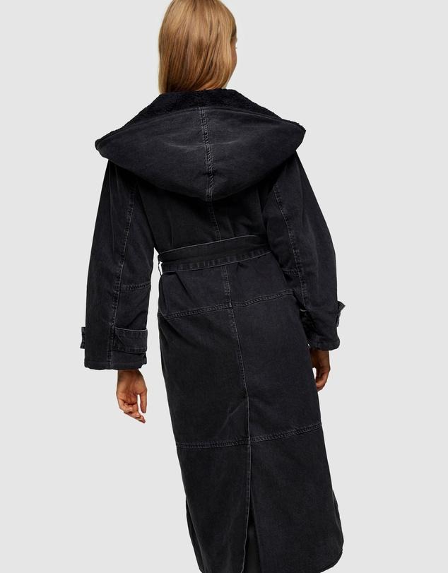 Women Denim Borg Hooded Jacket
