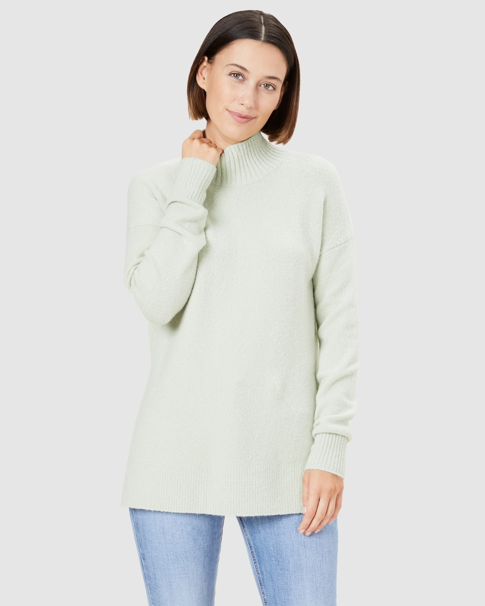 French Connection Cosy High Neck Knit Jumpers & Cardigans WASHED PISTACHIO Australia