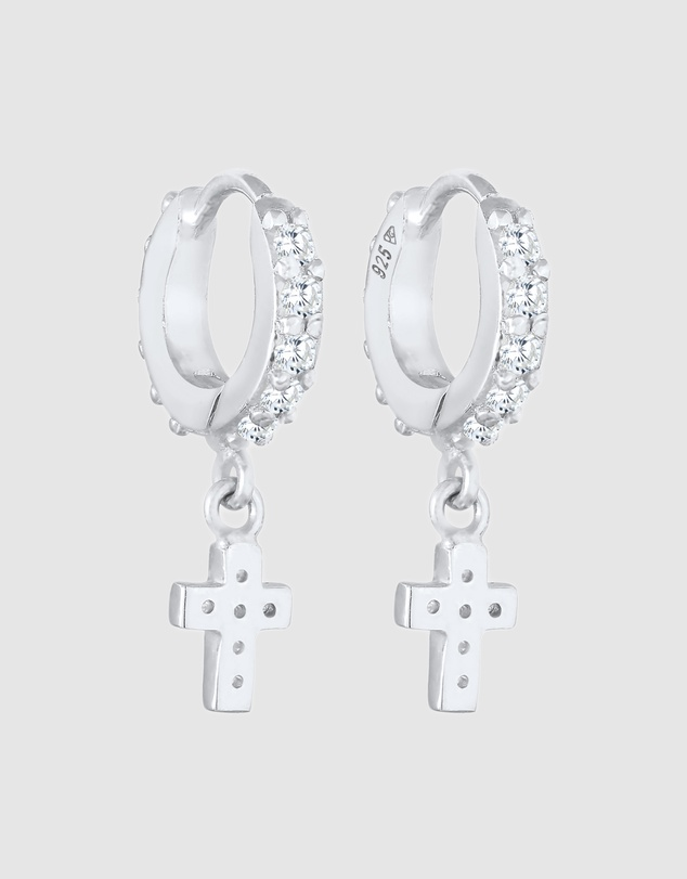Women Earrings Creoles Cross Pendant Trend with Zirconia Crystals in 925 Sterling Silver