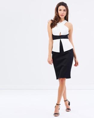 Romance by Honey and Beau – Grace Crossover Dress – Dresses (Black & White)