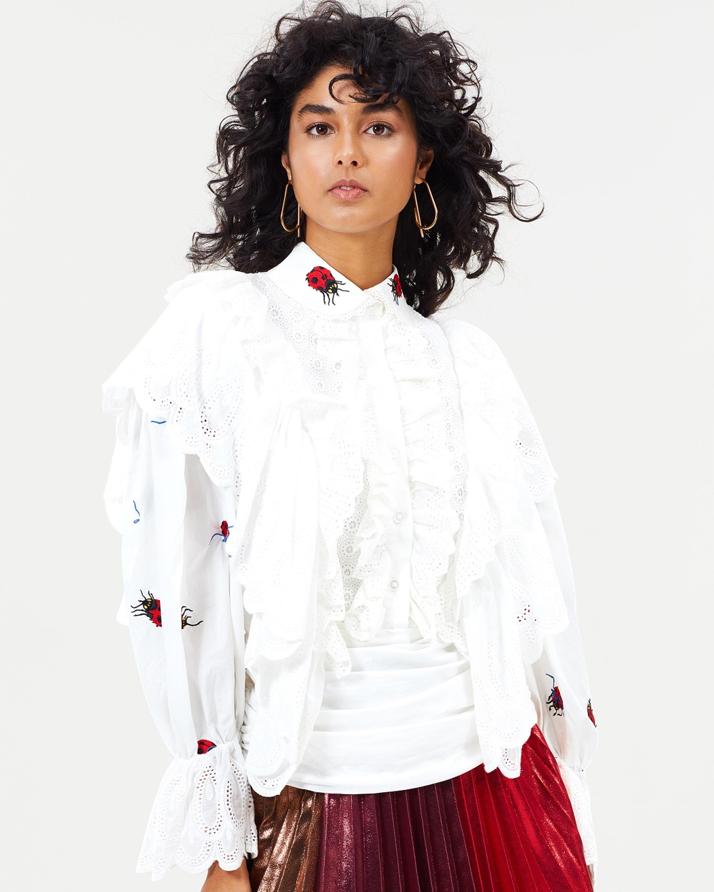 Romance Was Born Sisterhood Broderie Blouse Tops White & Red Sisterhood Broderie Blouse
