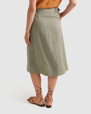 Sportscraft Frida Wrap Linen Skirt - Skirts (green)