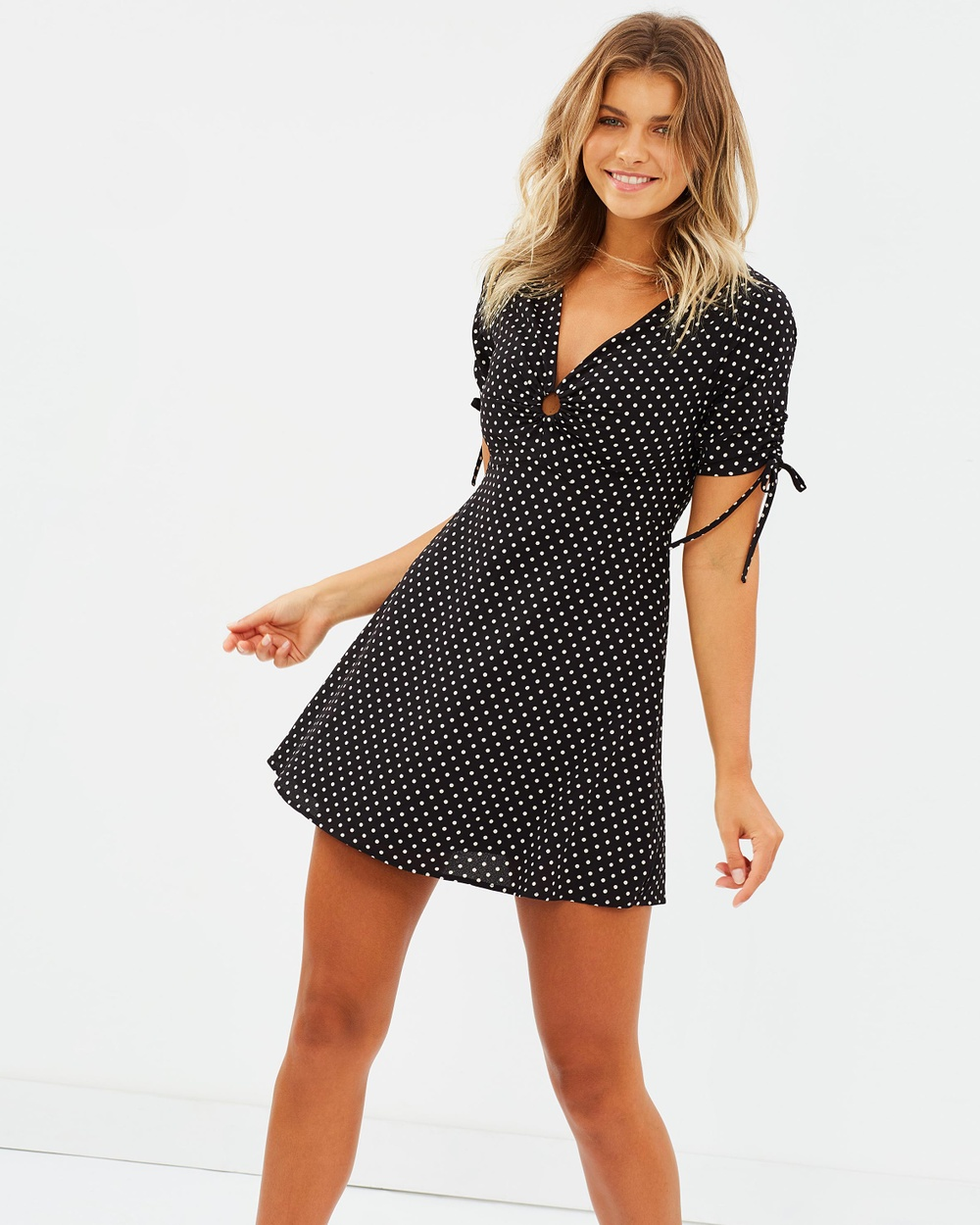 Atmos & Here ICONIC EXCLUSIVE Candice Mini Dress Printed Dresses Black with Polka Dot ICONIC EXCLUSIVE Candice Mini Dress
