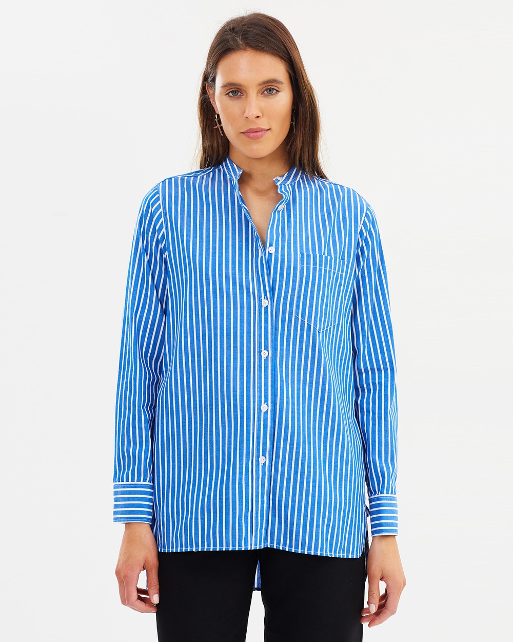 Incu Collection Mandarin Collar Shirt Tops Blue Stripe Mandarin Collar Shirt