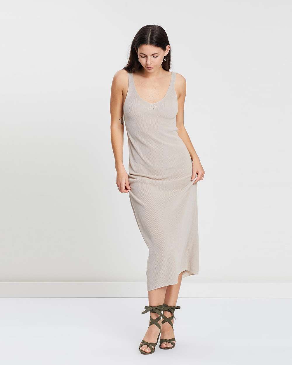 MESOP Sand Lily Pointelle Cami Dress