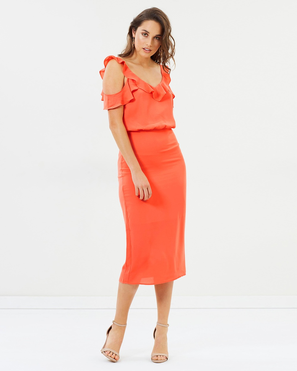 Oasis Frill Cold Shoulder Midi Dress Dresses Bright Orange Frill Cold Shoulder Midi Dress
