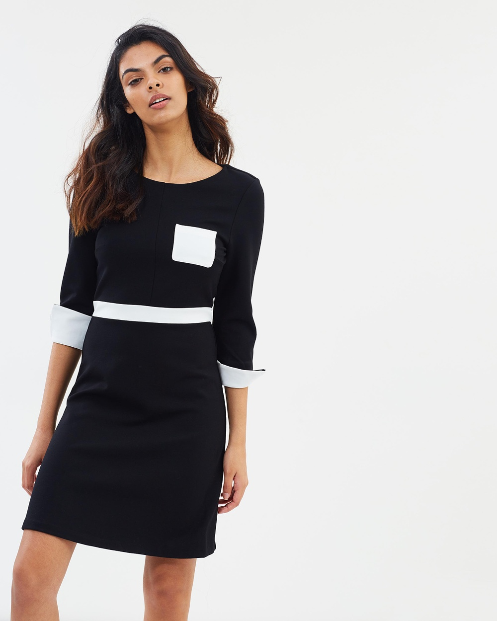 French Connection Gabrielle Jersey Dress Dresses Winter White & Black Gabrielle Jersey Dress