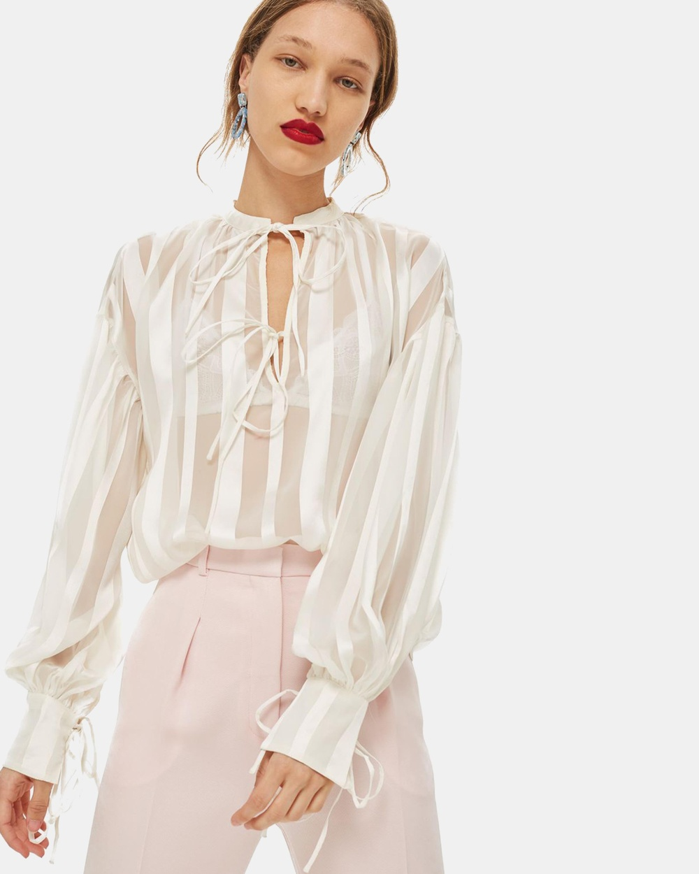 TOPSHOP Self Stripe Gypsy Blouse Tops Ivory Self-Stripe Gypsy Blouse
