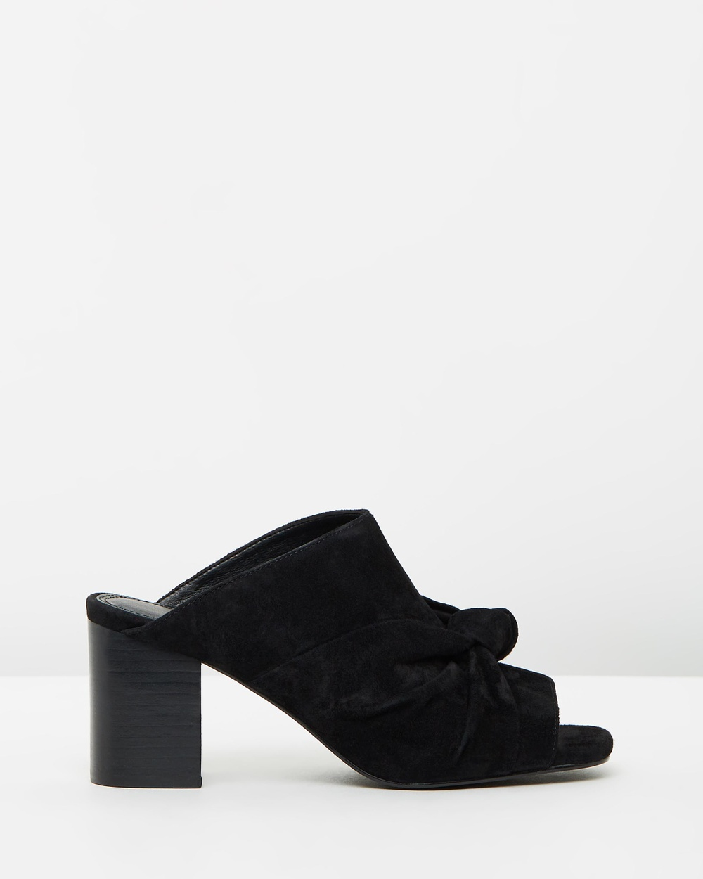 Atmos & Here Ellie Leather Knot Mules Mid-low heels Black Suede Ellie Leather Knot Mules