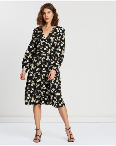 Atmos&here Bonny Wrap Dress Black Floral