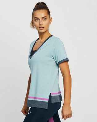 ASICS Color Block Ss Top   Women's - T-Shirts & Singlets (Smoke Blue)